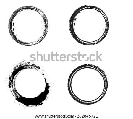 Coffee Stain Ring Vector - Vector Circle Shape - Circle Stamps - Round Brush Stroke - Icon, Logo, Banner Design . - stock vector