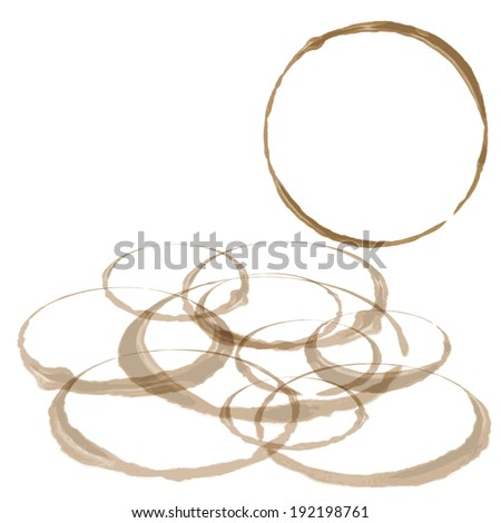 Coffee Stain Set, Isolated On White Background. EPS10 - stock vector