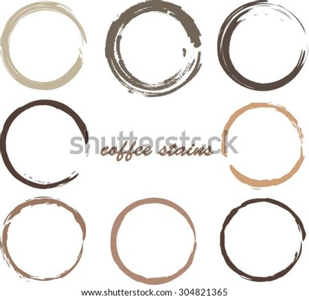 Coffee stains.Coffee cup rings.Vector template - stock vector