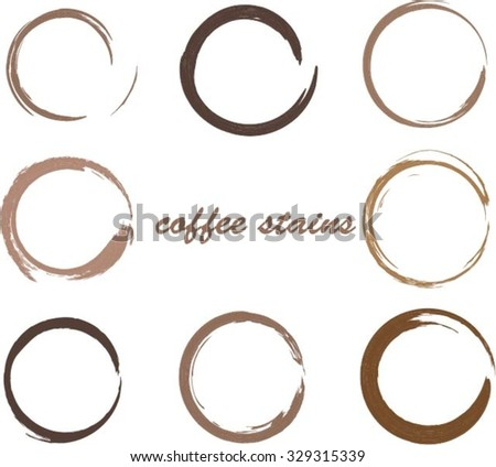 Coffee stains.Coffee cup rings.Vector template