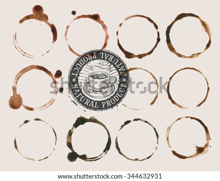 coffee stains isolated on a light background. vector illustration - stock vector