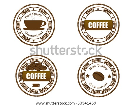 coffee stamps set  - more available - stock vector