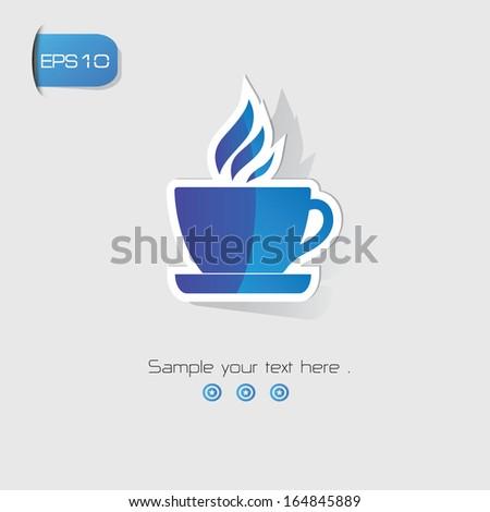 Coffee symbol,Blue version,vector - stock vector