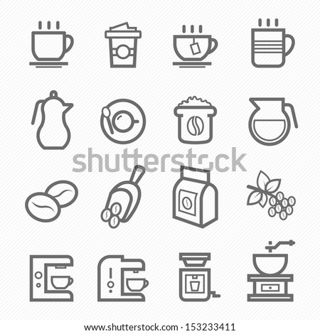 Coffee symbol line icon on white background vector illustration - stock vector