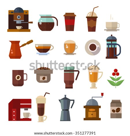 Coffee symbols set. Coffee cup vector icons. Coffee vector icon collection. Coffee maker, coffee bean, coffee cups. Cappuccino, americano, espresso coffee. Coffee icons flat style isolated on white - stock vector