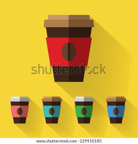 coffee take away. flat design - stock vector