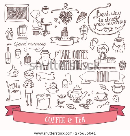 Coffee, tea and people characters doodle set. Hand drawn vector illustration. - stock vector