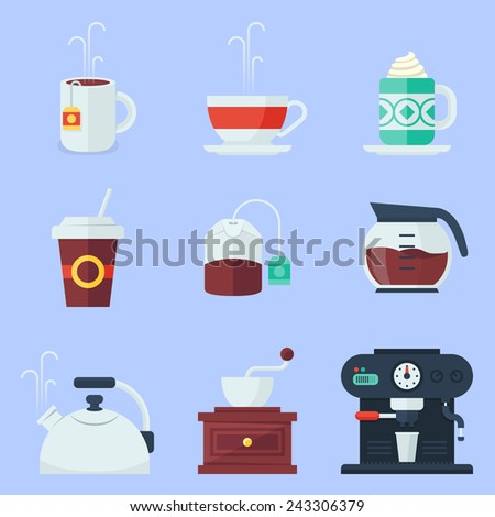 Coffee, tea, cup and devices flat icons set - stock vector