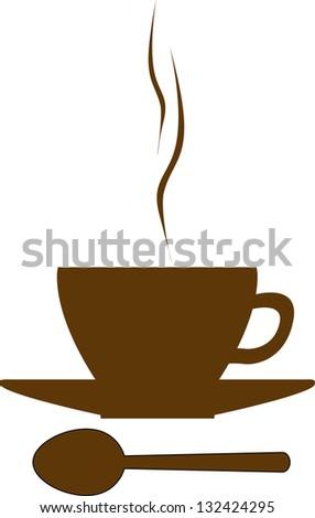 Coffee/tea cup, desert spoon - stock vector