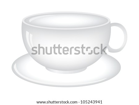 Coffee (tea) cup (mug) illustration isolated on white background - stock vector