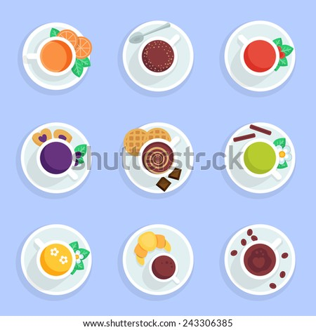 Coffee, tea, drinks and cocktails flat icons set - stock vector