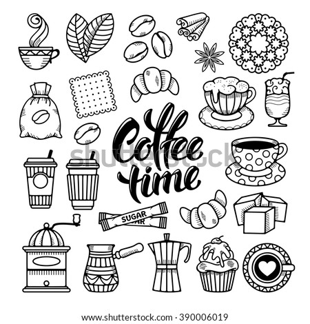 Coffee Theme Icons Set in Minimalistic Outline Hand Drawn Doodle Style. Calligraphic Lettering Coffee Time. Vector Illustration. Isolated on White Background. - stock vector