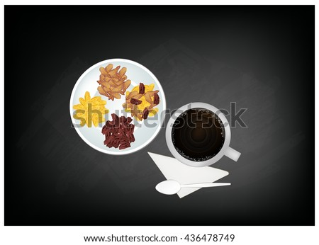 Coffee Time, A Cup of Coffee Served with Raisins or Dried Grape on Black Chalkboard. - stock vector