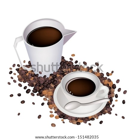 Coffee Time, A White Measure Cup and A Cup of Hot Coffee with Roasted Coffee Bean Isolated on White Background  - stock vector