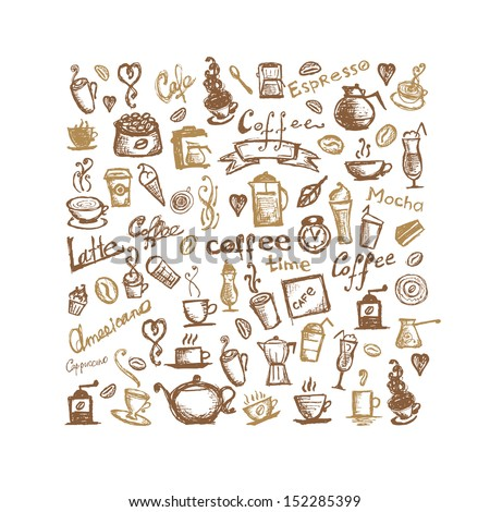 Coffee time, background for your design - stock vector