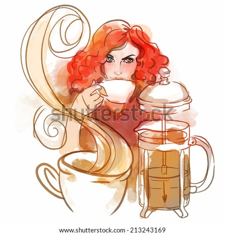 Coffee time: Beautiful redhead young woman enjoying a cup of coffee or tea, vector illustration - stock vector