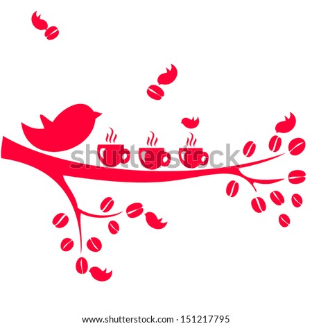 Coffee time. birds and a cup of coffee - stock vector