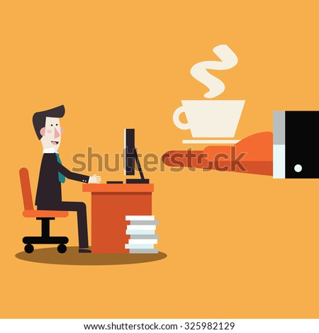 Coffee time, break and relaxation vector concept. Boss offering coffee to his employee.  Modern design vector style - stock vector