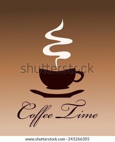 Coffee Time Card Vector Illustration.  - stock vector