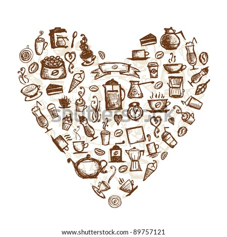 Coffee time, heart shape for your design - stock vector