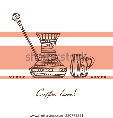 Coffee time illustration. Ornamental Cezve and cup, brown contour on the background with orange stripes. - stock vector