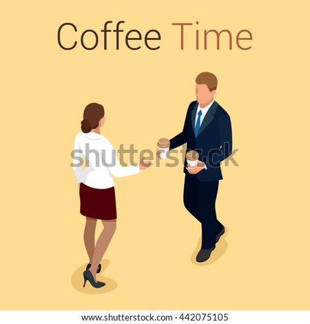 Coffee time or coffee break. Group People Chatting Interaction Socializing Concept. Flat 3d vector isometric illustration - stock vector