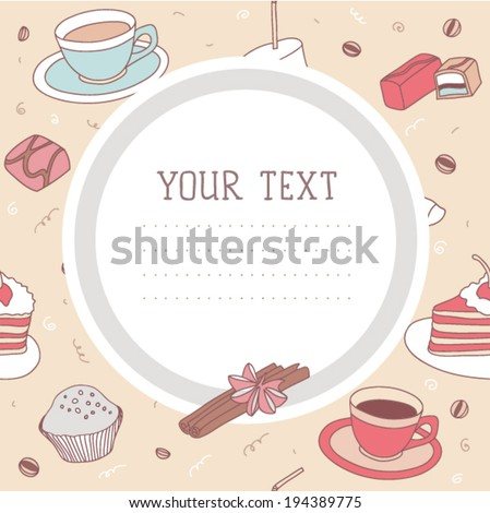 Coffee time seamless vector pattern card  - stock vector