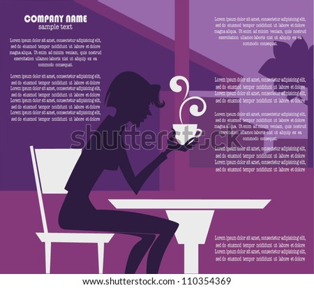 coffee time, vector background with image of girl in small cafe - stock vector