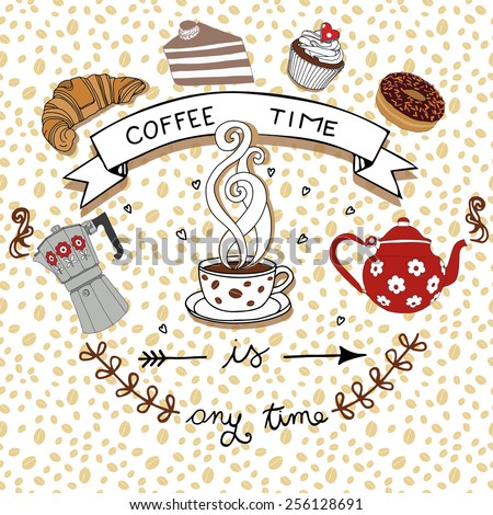 Coffee time , vector drawing with retro coffee pots and seamless coffee pattern