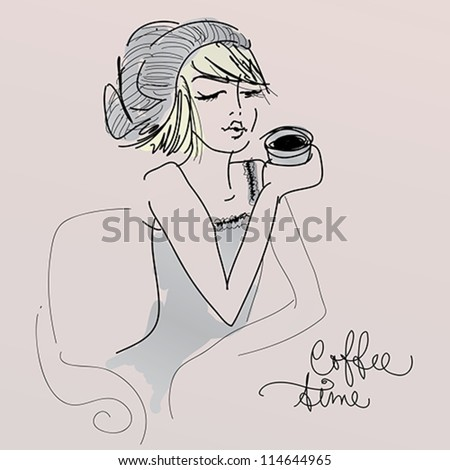 Coffee time / Vector sketch of young girl - stock vector