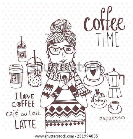 Coffee time with cute girl, seamless background  - stock vector