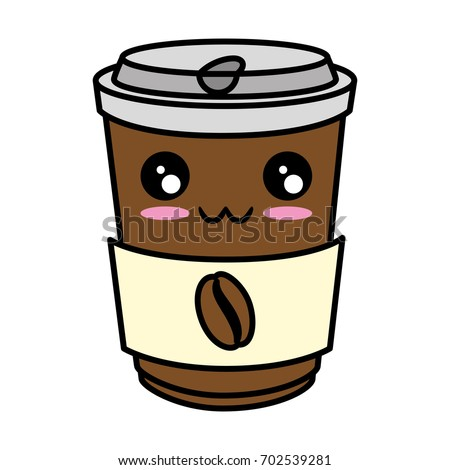 Coffee Go Kawaii Cute Cartoon Vector Stock Vector ...