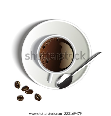 coffee top view on white background vector