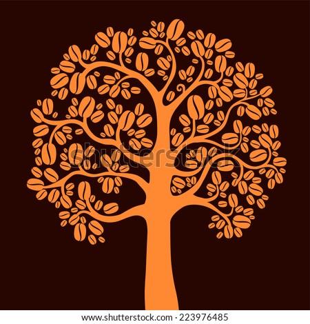 Coffee tree. vector illustration  - stock vector