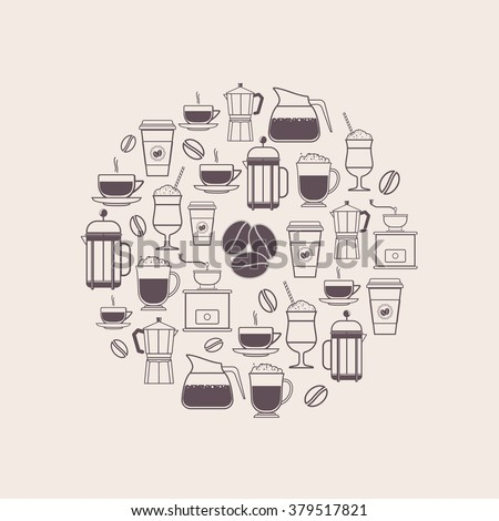 Coffee Types and Coffee Accessories Icons Set in Line Style - stock vector
