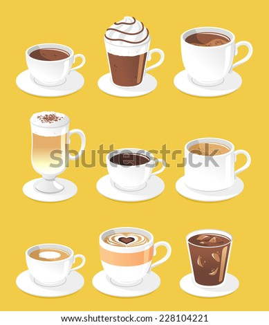 Coffee types set, vector illustration cartoon. - stock vector