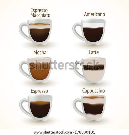 Coffee types. Vector illustration - stock vector