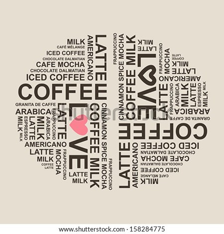 coffee typography cloud background design - stock vector
