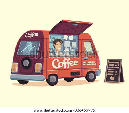 Coffee van. Hot drinks on wheels. Vector illustration.