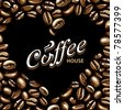 Coffee vector background with heart-shaped place for your logo or text. - stock vector