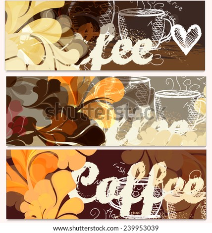 Coffee vector backgrounds set with  grunge elements  - stock vector