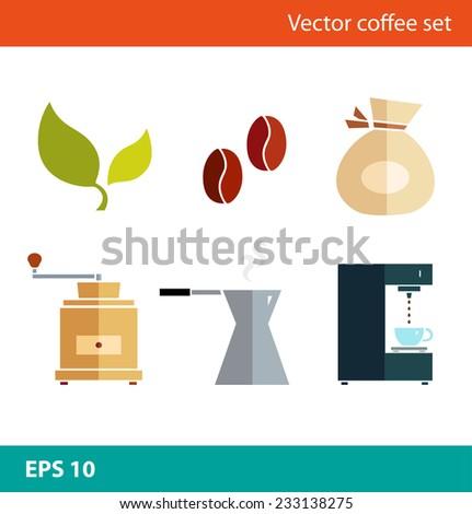 Coffee vector flat set. Percolator, coffee-machine, coffee maker, coffee-grinder, coffee corns - stock vector
