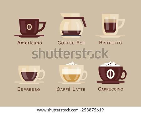 Coffee vector icon set menu. Coffee beverages types and preparation. espresso, mocha, macchiato, americano, latte, long black, cappuccino, espresso con panna, flat design - stock vector