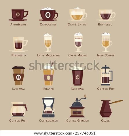 Coffee vector icon set menu. Coffee beverages types and preparation: espresso, mocha, macchiato, americano, latte,long black, cappucino, espresso con panna, flat  - stock vector
