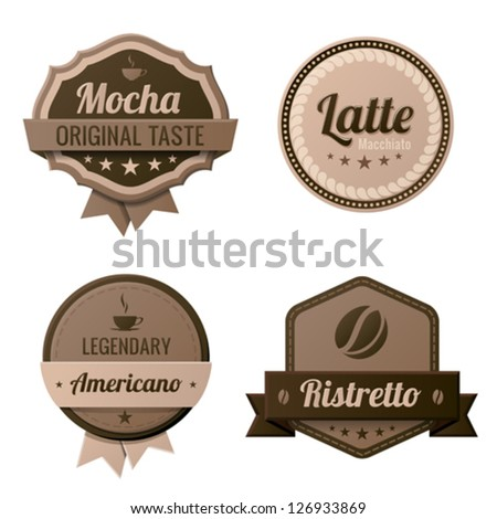 Coffee Vintage Labels logo template collection.  Cafe Retro style. Mocha, Latte, Americano, Ristretto. Vector icons. - stock vector