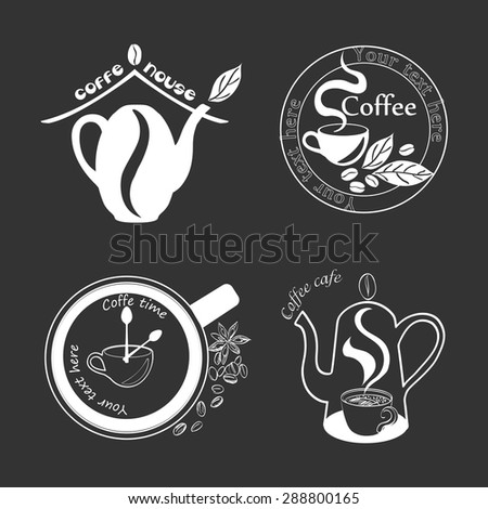 Coffee Vintage Labels such a logo template collection.  Luxury Retro design. Vector icons. - stock vector