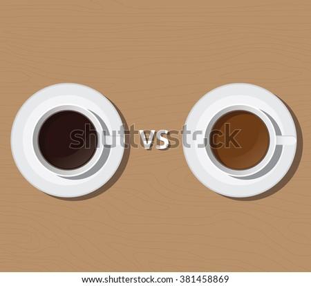 coffee vs versus tea compare health and benefit vector illustration - stock vector