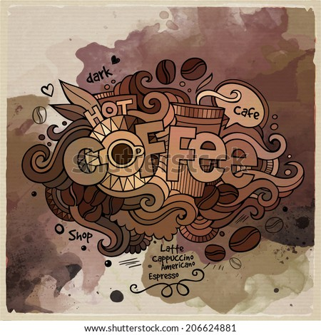 Coffee watercolor cartoon hand lettering and doodles elements background. Vector illustration - stock vector