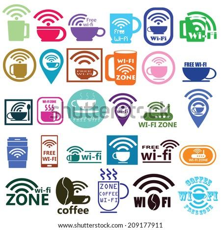 coffee wifi - stock vector
