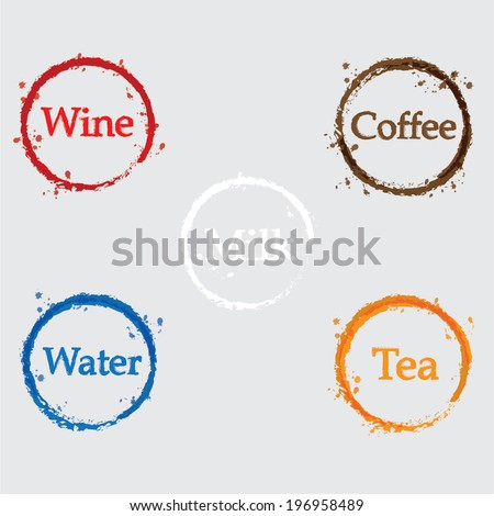coffee, wine, tea, cocktail and milk Icon - stock vector